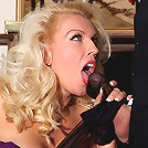 Posh blonde Lana Cox gets her butler to lick her nylons and feet, and then polishes his cock with her mouth