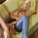 Leggy Lana takes a load on her silk stockings and high heels