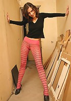 Pantyhose girl tries new poses to show off